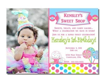 Candy Invitation Sweet Shop Birthday Party - DIGITAL or PRINTED