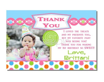 Candy Thank You Card Sweet Shop Birthday Party - DIGITAL or PRINTED
