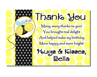 Bumble Bee Thank You Card Birthday Party - Sweet As Can Bee - DIGITAL or PRINTED
