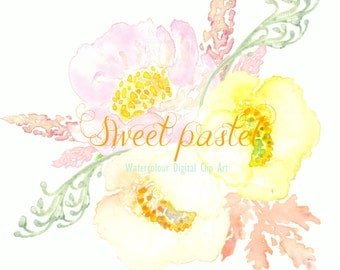 Digital Watercolours clipart hand drawn. Bouquet Sweet pastel. Romantic wedding, tender, pink and yellow pastel flowers , invitations