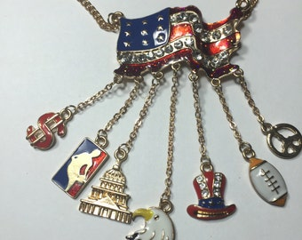 American flag necklace with 6 Patriotic charms ~ Eagle, US Capital, American sports