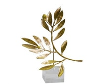 Gold plated bronze sculpture of an olive twig on a Perspex stand. Greek Art.Greek favor. Wedding gift. Handmade and signed.