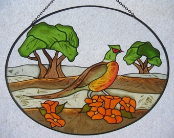 Suncatcher - Hand-painted on glass- Phaesant