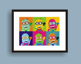 Minion - Pop Art Original Print by C Wiedenheft  comes with a white mat and ready to frame.