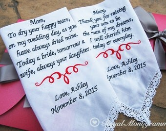 Wedding Handkerchief-Set-Embroidered-for your Mother and Mother in Law!-Wedding Hankerchief-FREE GIFT CASE-Embroidered Wedding Handkerchief