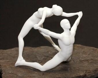 "3D Printed  ""Joy"" Human Figures Joy Acrobat 3D Printed Sculpture 70 mm White Acrylic Resin"