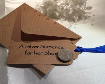 Sixpence for her Shoe, sixpence gifts, good luck bride, sixpence wedding gift, lucky sixpence