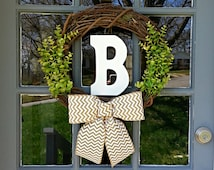 All Season Monogrammed Green Leaf Grape Vine Wreath with Chevron Burlap Bow, Rustic Monogram Wreath, Wedding Wreath, Initial Wreath