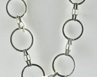 Vintage Sterling Silver Unique, Circles   Necklace 7.6g U5917