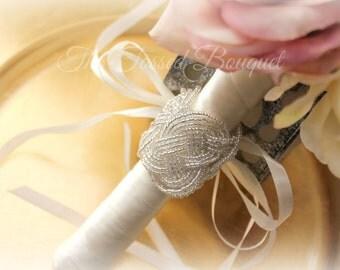 Bouquet Wrap,Bouquet Cuff,Beaded Flower Cuff,Bridal Bouquet Wrap,Wedding Bouquet Wrap,Beaded Bridal Cuff,Bridal Wrist Cuff,Prom Corsage