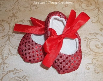 Red Glitter Crib Shoes - Red Ruby Slippers - Dorothy's Shoes - Red Sparkle Shoes - Christmas Shoes - Red Sequin Shoes
