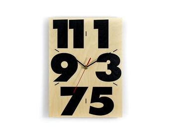 Wall Clock made of birch wood - Handmade screenprinted - Original Berlin product
