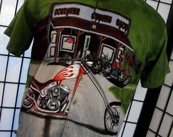 J/E/T STRTWR Chopper Biker Motorcycle polyester button shirt large l