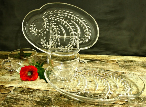 Federal glass snack sets homestead wheat mid century