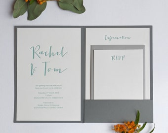 Calligraphy Pocketfold Letterpress Wedding Invitation Sample