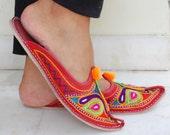Ballet Flats, slip ons, embroidered Indian sandals, Pom pom sandals, leather sandals