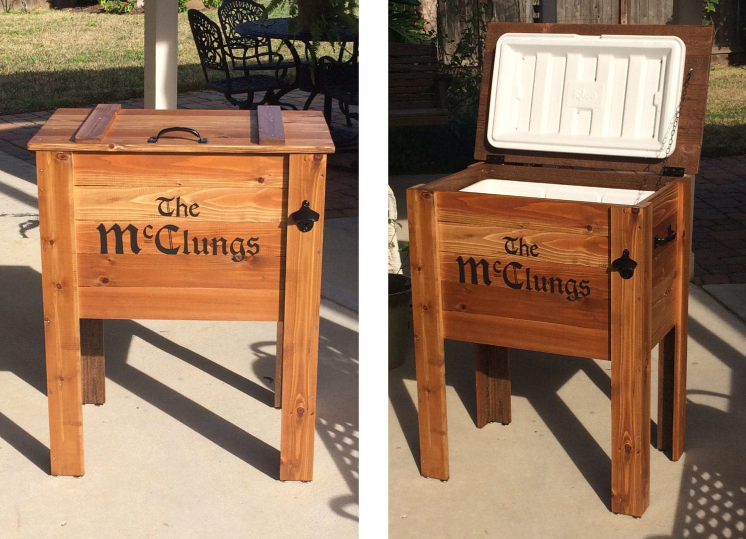 Outdoor Cedar Ice Chest Cooler Stand Greater Houston Texas
