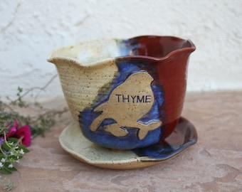 Thyme Planter ceramic flower pot indoor outdoor herb garden pots handmade pottery planter garden art unique garden gifts