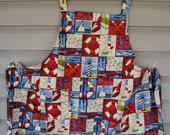 Apron with a nautical theme and a potholder