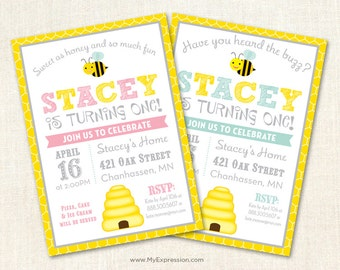 Honey Bee Birthday Invitations - First Birthday Party - Printable
