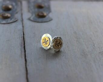 Handstamped Fleur de lis Gold Filled & Sterling Silver Stud Earring. Everyday earring, Mixed Metal Earring, Love Earring