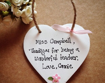 PERSONALISED any message plaque gift! Thank you teacher gift nursery thank you bridesmaid, friend sister aunts