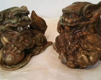 Pair Of Vintage Carved Resin Foo Dogs/Foo Lions