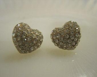 Gold Heart Earrings - Stud Earrings - Rhinestone Gold Heart Earrings - Beach Earrings - Beach Wedding - Valentines Day Jewelry