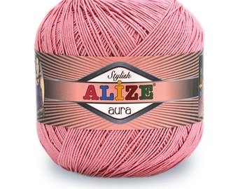 Alize AURA - Pack of 4 skiens High Quality Turkish Yarn, Microfiber Acrylic and Polyamide. Free Shipping
