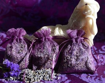 FRESH LAVENDER Sachets **Lavender flowerbuds in purple organza bags** QUANTITY Discounts** Wedding Favors**