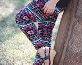 Super soft AZTEC leggings, leg warmers, Snowflake Reindeer leggings, tights, ripped leggings, womens leggings, spandex leggings