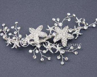 Beach Wedding Bridal Headpiece Rhinestone Starfish Jewel Sprays Decorative Clip Bride Silver Hair Piece