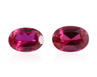 Ruby Synthetic Lab Created Set of 2 Loose Gemstones Oval Cut 1A Quality 7x5mm TGW 1.85 cts.
