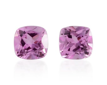Pink Sapphire Synthetic Lab Created Loose Gemstones Set of 2 Cushion Cut 1A Quality 5mm TGW 1.35 cts.