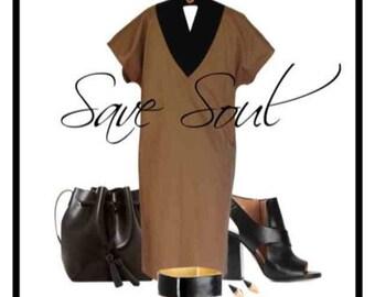 80's Brown Cotton Dress , vintage dress, short sleeve dress