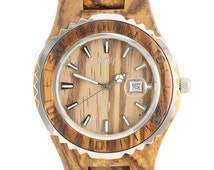 Women's Wooden Watch Zebra Wood Date Quartz Handmade Wood Watch W9133