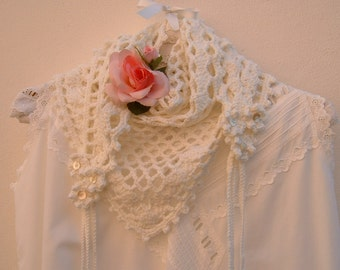 White wool crochet scarf with crochet neck warmer-style flowers and romantic, feminine-braids. Soft shawl handmade