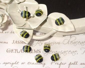 Tiny Polymer Clay Bee Beads x 4