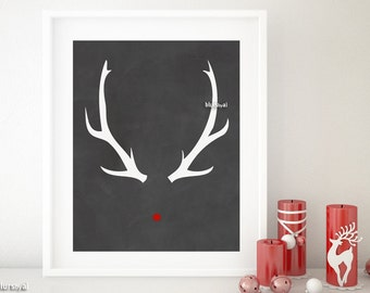 Holiday sign, Rudolph red nose & antlers sign, holiday printable chalkboard sign, Christmas decoration, printable Christmas decor. chp065