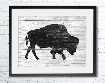 Bison art illustration print, Bison painting, Bison wood, Wall art, Rustic Wood art, Animal print, Animal silhouette, Bison silhouette