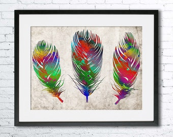 Colorful Feathers. Art print. Feathers poster, Feathers watercolor. Wall art. Abstract poster.