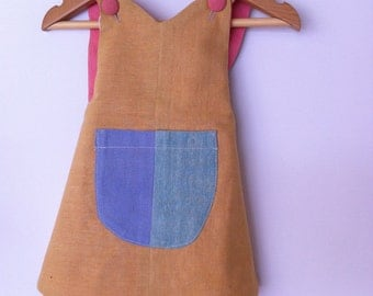 Hand dyed colourblock 100% cotton little girls dress