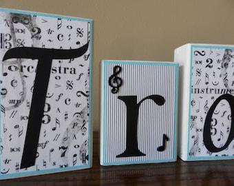 Classroom Decor Teacher Name Blocks Music Personal Name Block Letters Black White Blue Music Piano Band Teacher Music Notes Christmas Gift