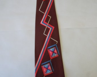 Stunning Late 1940s - Early 1950s Rayon Swing Tie