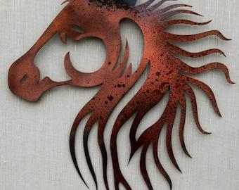 Metal Horse Wall Art horse metal art | etsy