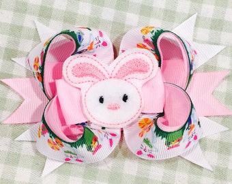 Easter Bunny Hair Bow...Pink Bunny Bow...Boutique Style Easter Bow