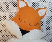 fox pillow, kids pillow, nursery pillow, animal pillow, nursery decoration, plush fox, woodland bedding, fox bedding, fox toy