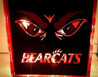 Cincinnati Bearcats Inspired Lighted Glass Block