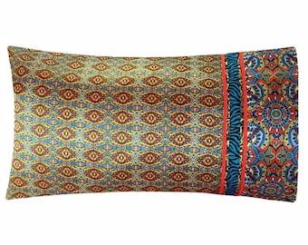 Bohemian Satin Pillowcase, Boho Pillow Case, Yellow Gold Bohemian Bedding, Moroccan Bedding, Boho Bedding, Satin Swank Satin Pillow Case