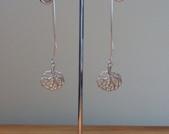 Long Matte silver oriental leaf/ fan earrings